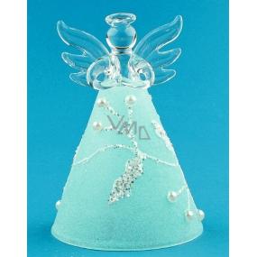 Anděl skleněný na postavení s modrou sukní 10 cm