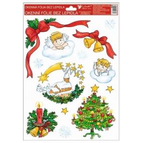 Okenní fólie bez lepidla Tradiční motivy andílci 4. vánoční stromek 37 x 26 cm