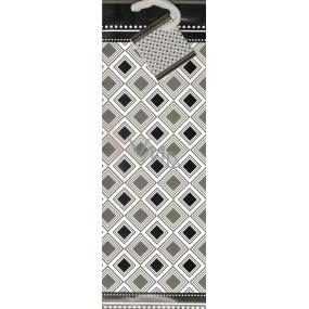 Nekupto Dárková papírová taška na láhev 33 x 10 x 9 cm Černobílá vzory 1103 02 KFLH