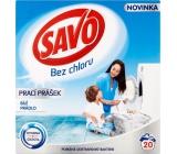 Savo White bez chloru prací prášek na bílé prádlo 20 dávek 1,4 kg