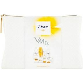 Dove Perfect Pampering sprchový gel 250 ml + šampon na vlasy 200 ml + kondicioner 200 ml + toaletní mýdlo 100 ml + antiperspirant deodorant sprej 150 ml + etue, kosmetická sada