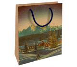 Nekupto Dárková kraftová taška 25 x 8 x 19 cm Vánoční zimní krajina 597 WKHM