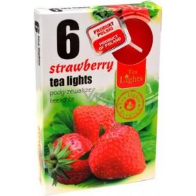 Tea Lights Strawberry s vůní jahody vonné čajové svíčky 6 kusů