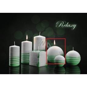 Lima Aromatická spirála Relaxy svíčka bílo - zelená koule 100 mm 1 kus