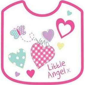 First Steps Little Angel bryndák dvouvrstvý bavlna + Peva růžový 21 x 25 cm