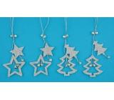 Hvězda a strom s glitry na zavěšení 13cm, 4 ks,stříbrná