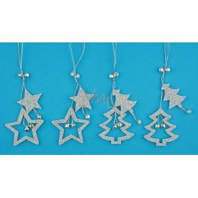 Hvězda a strom s glitry na zavěšení stříbrná 13 cm 4 kusy