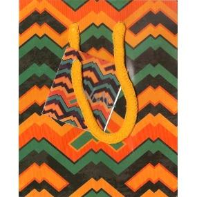 Nekupto Dárková papírová taška malá 14 x 11 x 6,5 cm oranžovo-zeleno-černá 1117 01 KAS