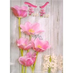 Nekupto Dárková papírová taška velká 32,5 x 26 x 13 cm růžové květiny 1382 02 KFL