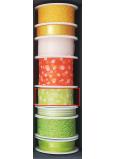 Nekupto Stuha látková zelená bílé puntíky 3 m x 25 mm