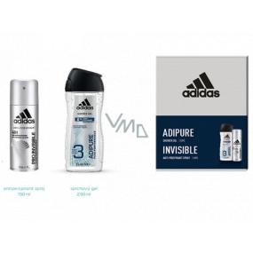 Adidas Pro Invisible & Adipure antiperspirant deodorant sprej pro muže 150 ml + sprchový gel 250 ml, kosmetická sada
