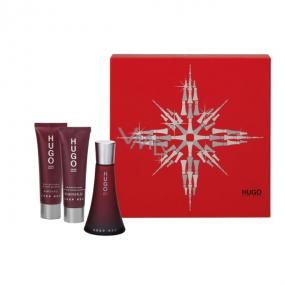 Hugo Boss Deep Red parfémovaná voda 50 ml + tělové mléko 50 ml + sprchový gel 50 ml, pro ženy dárková sada