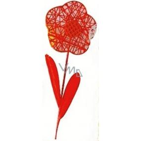 Květina velká červená proplétaná 49 cm