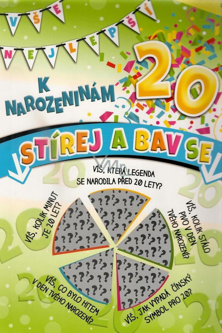 přání k 20 tým narozeninám Nekupto Stírací přání k narozeninám 20 G 20 3355 32 x 23 cm   VMD  přání k 20 tým narozeninám