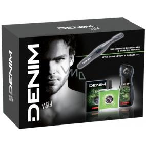 Denim Wild voda po holení 100 ml + sprchový gel 250 ml + Trimmer - kadeřník na vousy, kosmetická sada