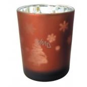 Svícen skleněný hnědý 7 cm stromeček
