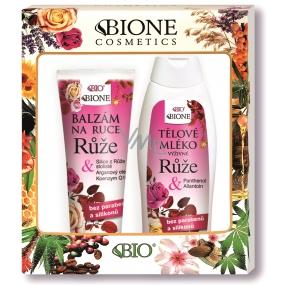 Bione Cosmetics Růže tělové mléko 500 ml + balzám na ruce 205 ml, kosmetická sada