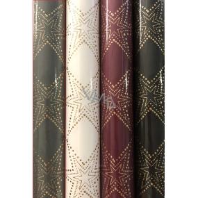 Zöllner Vánoční Luxusní balicí papír s ražbou Luxury Noble Stars šedý zlaté hvězdy 1,5 m x 70 cm