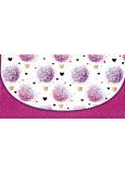 Nekupto Přání obálka na peníze Růžová s květinami 116 x 220 mm