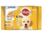 Pedigree Vital Protection Junior s kuřecím masem a rýží, s krůtím masem a rýží v želé kapsička 4 x 100 g