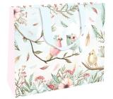 Nekupto Dárková papírová taška s ražbou 30 x 23 x 12 cm Ptáčci 1863 LFL
