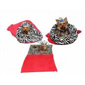 Marysa pelíšek - pytel 3v1 je určen pro štěňátko, koťátko, hlodavce nebo fretku XL 60 x 150 cm červená/zebra