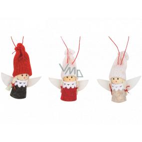 Anděl v pletené čepici 5,5 cm na zavěšení 1 kus