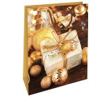 Nekupto Dárková papírová taška 32,5 x 26 x 13 cm Vánoční zlatá dárek WBL 1947 01