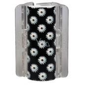 Linziclip Maxi Vlasový skřipec černý se sedmikráskami 8 cm vhodný pro hustší vlasy 1 kus