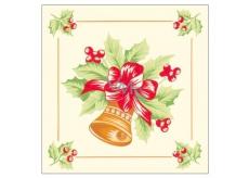 Forest Vánoční papírové ubrousky Zvonek s červenou mašlí 1 vrstvé 33 x 33 cm 20 kusů