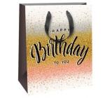 Ditipo Dárková papírová taška zlato-stříbrno-růžová, černá stužka 18 x 10 x 22,7 cm QC Glitter