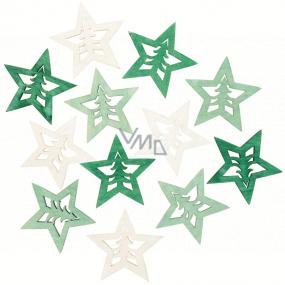 Hvězda dřevěná zeleno-přírodní 4 cm 12 kusů