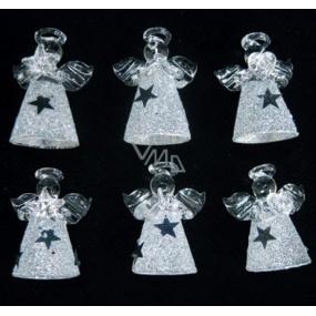 Sada ze skla andělé s bílou sukní se stříbrnými hvězdami 4,5 cm 6 kusů