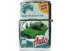 Bohemia Gifts Retro zapalovač kovový benzínový s potiskem Zelené auto 5,5 x 3,5 x 1,2 cm
