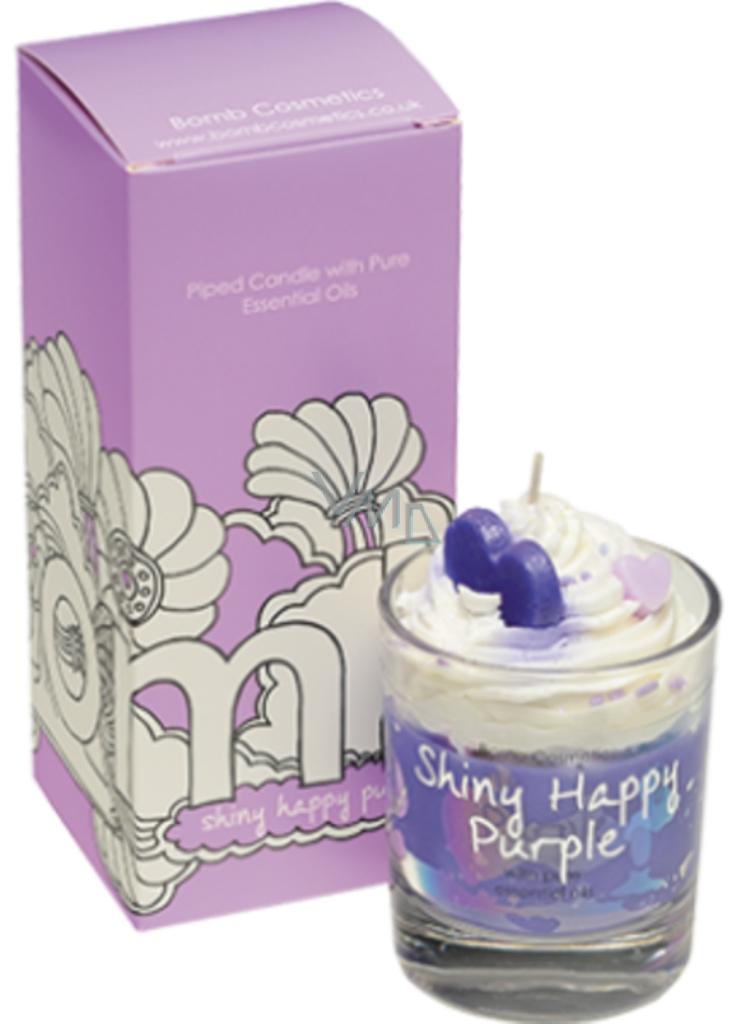 Bomb Cosmetics Šťastná fialka vonná přírodní, ručně vyrobena svíčka ve skle hoří až 35 hodin