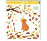 Room Decor Okenní fólie bez lepidla podzimní zvířátka 33 x 30 cm podzimní zvířátka Kočka