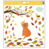 Room Decor Okenní fólie podzimní zvířátka 33 x 30 cm podzimní zvířátka Kočka
