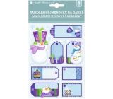 Jmenovky na dárky 3D s glitry modrofialové 17 x 12,5 cm 8 kusů