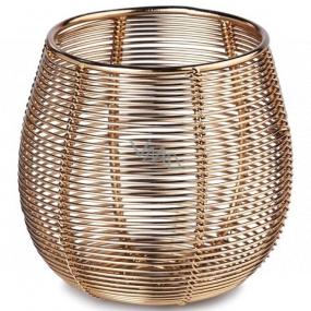 Svícen na svíčku kovový zlatý 95 x 90 mm