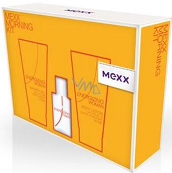 Mexx Energizing Woman toaletní voda 15 ml + sprchový gel 50 ml + tělové mléko 50 ml, dárková sada