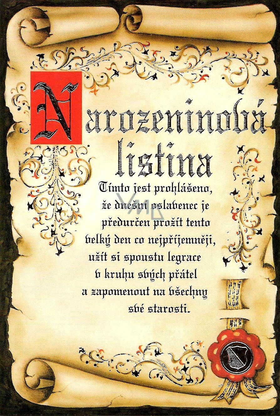 slovenské přání k narozeninám Nekupto Přání k narozeninám Narozeninová listina   VMD parfumerie  slovenské přání k narozeninám