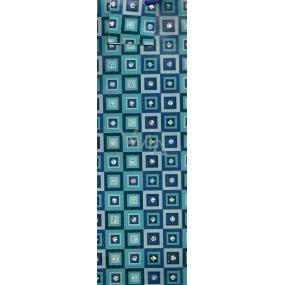 Nekupto Dárková papírová taška na láhev 025 40 GLH tyrkysovo modré čtverce 33 x 10 x 9 cm