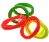 Vlasová gumička neon žlutá, zelená, oranžová 3 x 0,8 cm 6 kusů