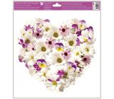 Okenní fólie bez lepidla Srdce z květů Kopretiny a macešky 30 x 33,5 cm