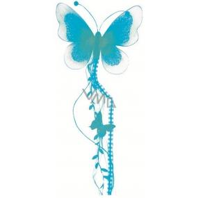 Motýl se silonovými křídly a peříčkem modrý 73 x 17 cm