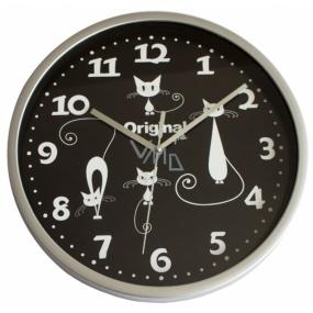 Albi Original Nástěnné hodiny Bílé Kočky, 25,5 cm × 25 cm