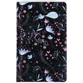 Albi Diář kapesní týdenní Černá tapeta s květy a srdíčky 9,5 cm × 15,5 cm × 1,1 cm