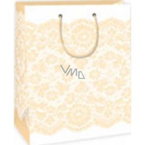 Ditipo Dárková papírová taška 26,4 x 13,6 x 32,7 cm bílá žlutý krajkový vzor DAB
