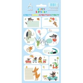 Arch Samolepky do domácnosti, na dárky Happy Birthday modré 14 etiket