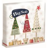 Big Soft Vánoční papírové ubrousky Stromky v květináči 33 x 33 cm 2 vrstvé 20 kusů
